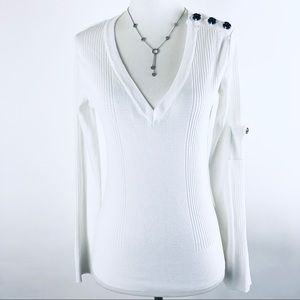 Anthropologie One Girl Who White long sleeve top